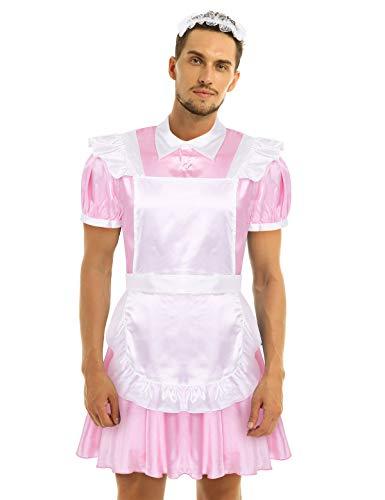 MSemis Disfraz Criada para Hombres Gay Vestido Sissy de Satn Uniforme Sirvienta Dulce Disfraces Despedida Cosplay Lolita Dama Ropa Ertica Adultos Rosa Medium