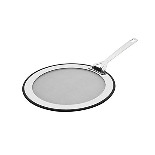 Le Creuset 3-Ply Tapa antisalpicaduras, Ø 20 - 24 cm, acero inoxidable, con borde de silicona antideslizante, mango abatible, metálico