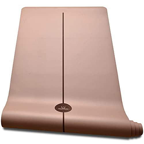 OVO Santulan - Kit Tapis de Yoga en Caoutchouc Naturel, Hyper Antidérapant, Doux, Stable et Confortable, Certifié Ecologique par SGS, 183x68cm + Tube de Rangement + Sangle + Ebook Offert