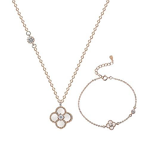 MMZB Collar de trébol de Cuatro Hojas y Juego de Pulseras, S925 Sterling Silver Cubic Zirconia Collar de joyería, Regalo para Mujeres, Madre, niñas