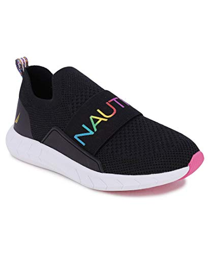 Nautica Kids Youth Athletic Fashion Sneaker Running Shoe Slip On- Boy - Girl Little Kid Big Kid-Zakon-Black Rainbow Metallic-1