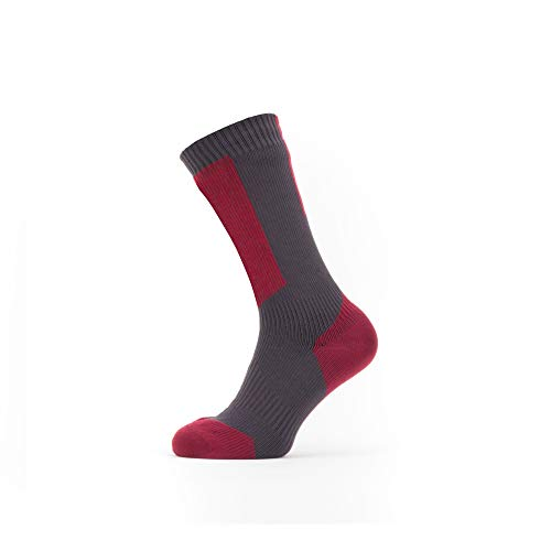 Seal Skinz Waterproof Cold Weather Mid Length Sock with Hydrostop Calcetines unisex para adultos, Gris/Rojo/Blanco, XL