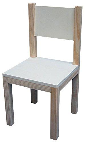 Silla infantil de madera. En crudo, para decorar. Madera de pino y chopo. Medidas: (ancho/alto): 31 * 31 * 60 cms. Altura asiento: 30 cms.