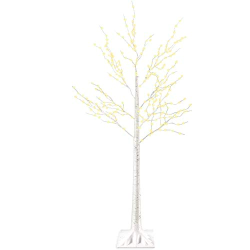 Fswallow Gorgeous Christmas Tree, Led Artificial Christmas Tree, 5 Feet Birch Tree Light White 8 Flashing Modes Remote Dimmable Lighted Trees for Christmas Home Decoration, Plug-in/remote Control
