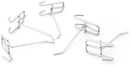 DealMux Metalen Thuis Supermarkt Muur Goederen Handdoeken Tassen Jassen Slat Haak Hanger 5 stks Zilver Tone