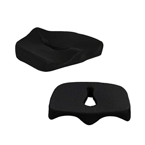 Yulo Almohada de Espuma de Memoria Anti decúbito ortopédico Asiento de Confort para Sentarse en Silla de Oficina Soporte de Coche y Embarazo hemorroides Dolor de Espalda,Negro