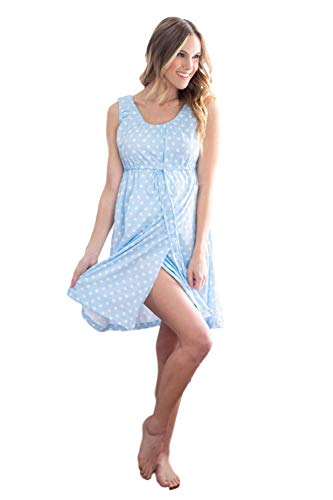 3 in 1 Labor / Delivery / Nursing Gown Baby Be Mine Maternity (S/M , Blue Polka Dot)