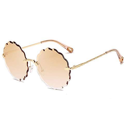 THJM Gafas De Sol Sin Marco De Metal Mujer Moda Gafas De Sol De Calle 14.3X14CM