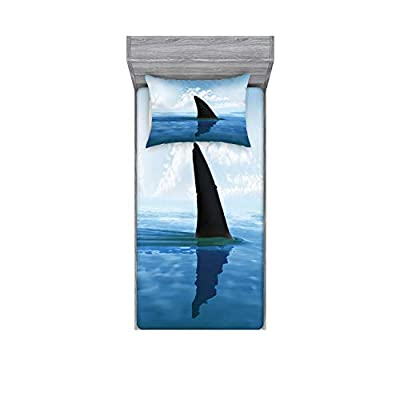 Ambesonne Shark Bedding Set with Sheet & Covers, Shark Fish Fin Over The Sea Surface Danger Caution Themed Picture, Printed Bedroom Decor with Sham