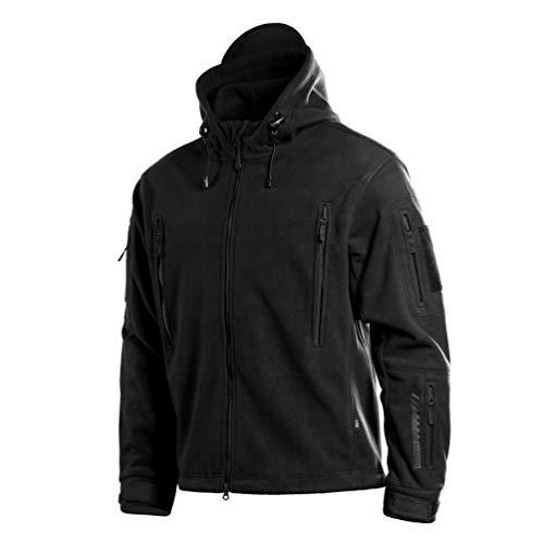 M-Tac Military Fleece Jacket Men - Tactical Fleece Hoodie - Survival Sweatshirt (Black, L)