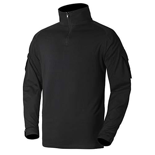 Vzteek Taktisches Kampf Shirt Schnelltrocknend Militär Airsoft Shirt Slim Fit 1/4 Reißverschluss T-Shirt für Paintball,Training,Jagen (Schwarz, XL)