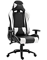 Mahmayi 9854 Gaming Chair High-Back Racing style with Pu Leather Bucket Seat, 360 Swivel with heavy duty steel can hold upto 200KG, Headrest, Lumbar Support, compatible with E-sports - Black & White