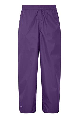 Mountain Warehouse Protectores Impermeables para niños Pakka - Pantalón con Costuras Selladas - Tobillo Ajustable - Pantalones Plegables para Lluvia - para la Escuela Morado 9-10 Años
