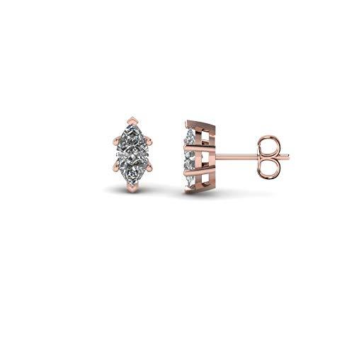 Pendientes de tuerca de 3 mm-8 mm, 6 puntas en forma de marquesa transparente D/VVS1 con diamante solitario chapado en oro rosa de 14 quilates de plata 925