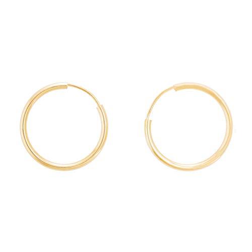 Pendientes redondos lisos flexibles de oro amarillo (375/1000) 15 mm