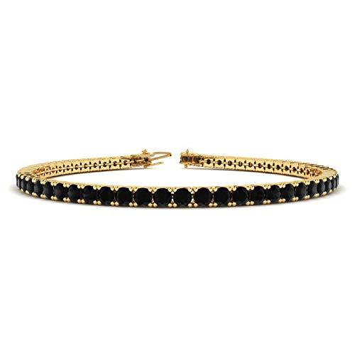 Silvernshine Jewels - Bracciale tennis da 3,5 ct, placcato in oro bianco 14 K, colore: Nero e Argento, colore: Giallo, cod. SNSB299-YG_9