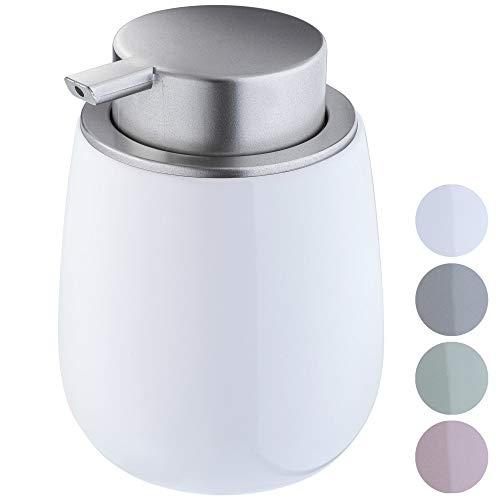KADAX Seifenspender aus Keramik, Spender mit Pumpe aus Kunststoff, Lotions-Pender für Bad, Küche, 12,5 x 9,5 cm, Flüssigseifen-Spender, Spülmittel-Spender, glänzend, rund (weiß)