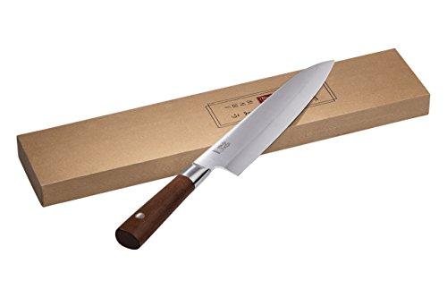 Cuocoo Kookmes/Deba & Sushi mes met Japanse slijping voor het fileren van vis en vlees, en ons Deba Knife/hak- en weegmes - met houten handvat en verschillende lemmetlengtes Deba Messer, 21 cm