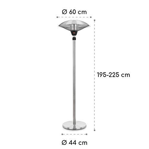 blumfeldt Heat Guard • Heizstrahler • Terrassen-Heizpilz • Standheizer • IP44 • 3 Stufen: 900, 1200 und 2100 W • höhenverstellbar • witterungsbeständig • Aluminium-Standfuß • 1.8 m Netzkabel • silber - 5
