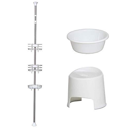 新生活応援 バスルームセット 3点 浴室突っ張りラック 風呂椅子 湯おけ アイリスオーヤマ BLT-25S BI-300AG BO-270AG