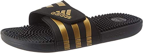 adidas Adissage, Slide Sandal Unisex Adulto, Core Black/Gold Metallic/Core Black, 46 EU
