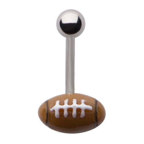 Belly Button Rings 14G Steel football ball belly rings 3/8