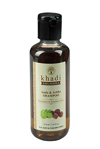 Khadi Shuddha Amla & Aritha Shampoo - Straighten & Smoothen (SLS, SLES & PARABEN FREE), black, 210 ml