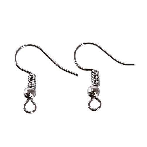 Sperrins 100 Stück Ohrring Haken Sterling Silber Ohr Drähte Angelhaken Ohrring mit Federball für DIY Schmuckherstellung