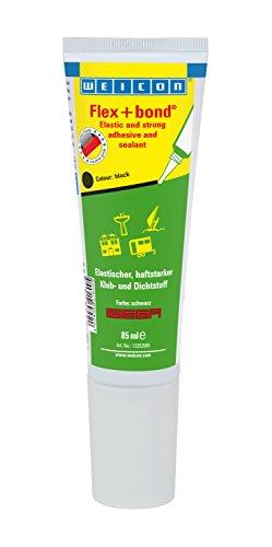 WEICON Flex+bond®| Farbe: schwarz| 85ml Tube| haftstarker dauerelastischer Kleber|Extrem beständig gegen Wasser UV Temperatur|Auf Glas Metall| ISEGA