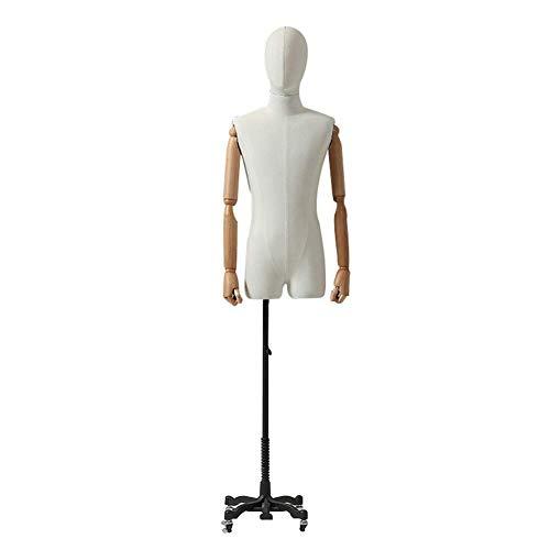 AJZGF Maniqui de Costura sastres simulado Macho, Torso Sastre Blanco, Brazo Cabeza Modelo Busto Bastidor de carrocería, Caster maniqui Mujer (Color : B)