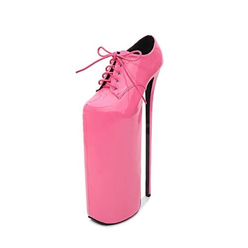 KKCD :Damen Nachtclub High Heels, Große Stöckelabsatz 30 cm + wasserdichte Plattform 20 cm Geschlossene Spitze Sexy Bankett High Heel Pump Schuhe,Rosa,46