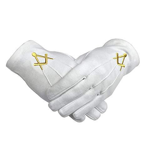 Unbekannt Freimaurer Baumwolle Handschuh mit Golden Mylar Bestickt Winkel und Kompass - Schwarz, S