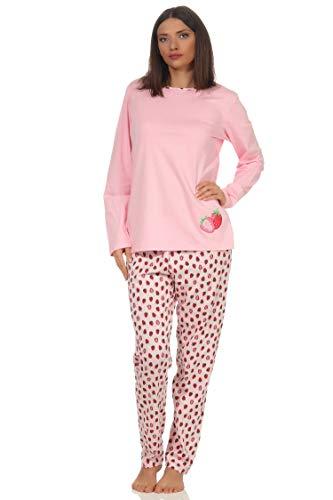 Damen Pyjama Schlafanzug Langarm mit süssen Erdrosan Motiv 64231, Farbe:rosa, Größe2:40/42