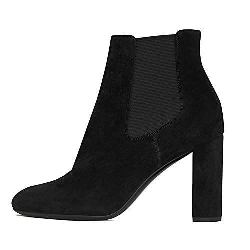 Mujer Botines de Tacón Bloque Gamuza Zapatos de Tacón Alto Botas Cortas al Tobillo Suede Ankle Boots Botín Casual Botas Chelsea Tacones Altos,Negro,34 EU