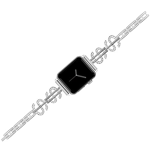 YWZQ Sports Wristband, Compatible with Apple Watch Strap 40MM 38MM 42MM 44MM, with Rhinestones Metal Replacement Bands for Iwatch Series 5/4/3/2/1,Silver,42/44