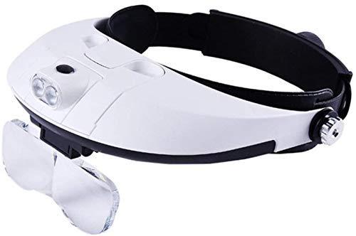 HLSH Lupa para Gafas, Aumento múltiple, Lupa de Lectura para Hombre Mayor, Lupa de iluminación LED, 5 Juegos de Lentes, Ayuda para la visión