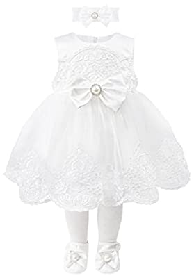 Taffy Baby Girl Christening Baptism Embroidered White Dress Gown 6 Piece Deluxe Set 3-6 Months