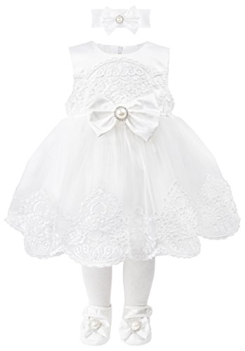 Taffy Baby Girl Christening Baptism Embroidered White Dress Gown 6 Piece Deluxe Set 0-3 Months