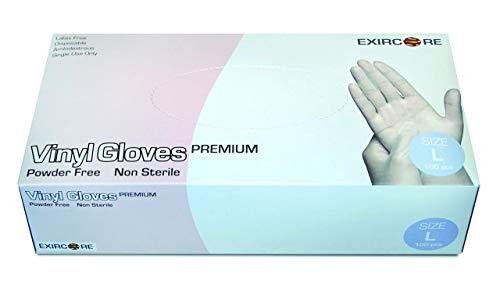 Vinyl-Handschuhe in Premium-Qualität - 100 Stück - puderfrei, nicht steril, beidseitig tragbar - transparent (M)