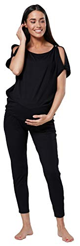 HAPPY MAMA Mujer Maternidad Amamantamiento Chandal & Mono Conjunto 1024p (Negro, 38, M)