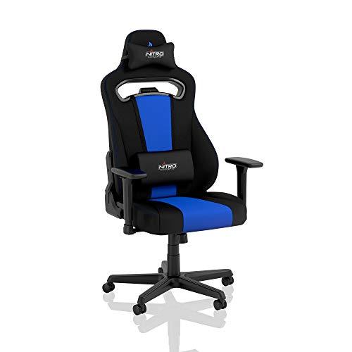 NITRO CONCEPTS E250 Gaming Stuhl - Bürostuhl Ergonomisch Schreibtischstuhl Zocker Stuhl Gaming Sessel Drehstuhl mit Rollen Stoffbezug Belastbarkeit 125 Kilogramm Schwarz/Blau