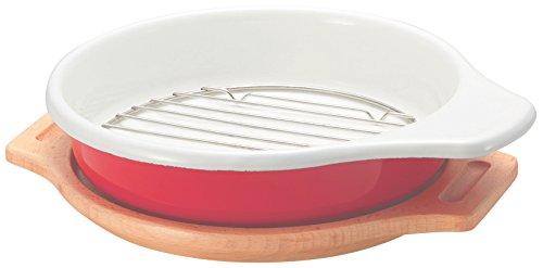 ドウシシャ ホーローグリルプレート 丸型 木皿プレート付き レッド DHGPN-RRD