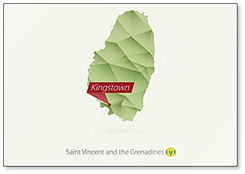Kaart van Sint Maarten Met Hoofdstad Kingstown - Koelkast Magneet