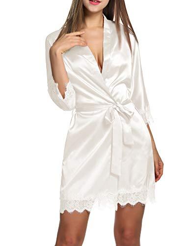 Balancora Damen Morgenmantel Bademantel Satin Sexy Kimono mit Taschen Kurz Robe mit Gürtel Nachthemd für Braut Nachtwäsche Mit Blumenspitze XS A-weiß