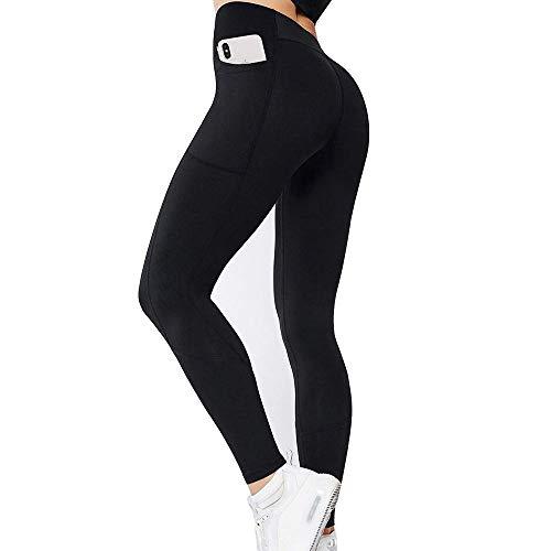 GIEADUN Cintura Alta Pantalón Deportivo de Mujer Leggings Mallas para Running Training Fitness Estiramiento Yoga y Pilates (Todo Negro, S)