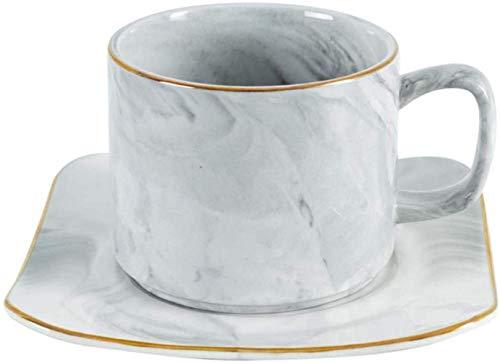 Wiederverwendbar Marmor Kaffee Milch Tasse Nachmittagstee Tassen Set Keramik Gold Tassen Und Untertassen Home Breakfast Teetasse, Hellgrau, Hellgrau