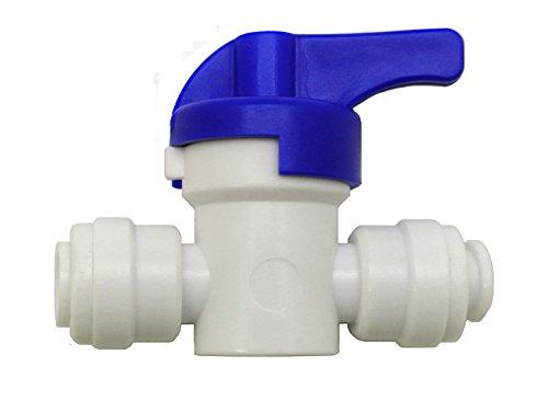 Finerfilters Grifo de válvula de cierre PF de 1/4' para aceptar tubo de 1/4' para agua potable, ósmosis inversa, sistemas de filtro de nevera (5)
