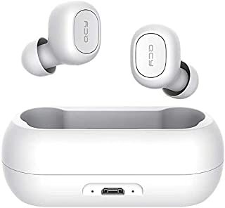 QCY T1C Auriculares inalámbricos para Biauricular Dentro de oído, mini audífonos deportivos con IPX5 impermeable, Blanco