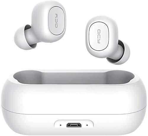 Fones de ouvido QCY T1 T1C True Wireless com capa de carregamento sem tampa, fones de ouvido Bluetooth TWS 5.0, Branco, Medium