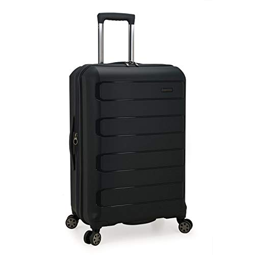 Traveler's Choice Pagosa Indestructible Hardshell Expandable Spinner Luggage, Black, Checked-Medium 26-Inch